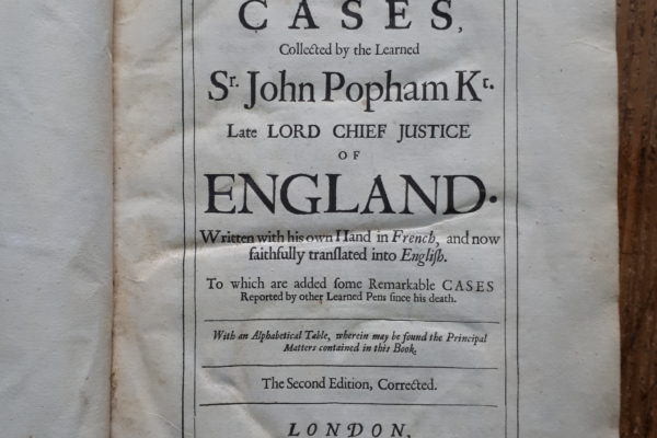 Frontispiece of book by Sir John Popham of Littlecote House.