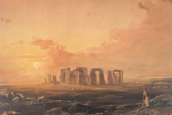 'Sunset at Stonehenge' by Anthony Vandyke Copley Fielding, 1818. The first West of England landscape painted by the artist.