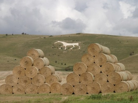 Alton Barnes White Horse seen from the Vale of Pewsey