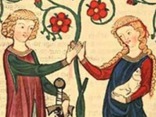 Medieval art showing a man and lady with flowers