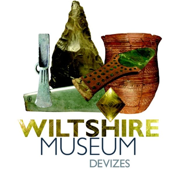 Wiltshire Museum logo showing some of the key finds from the museum. Includes the Bronze Age Bush Barrow lozenge excated close to Stonehenge.