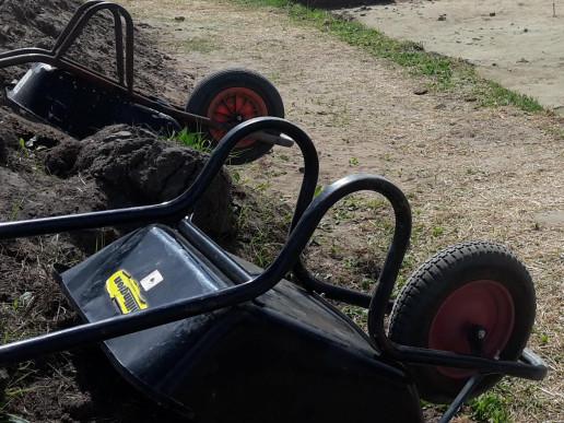 Wheelbarrows at an archaeological dig