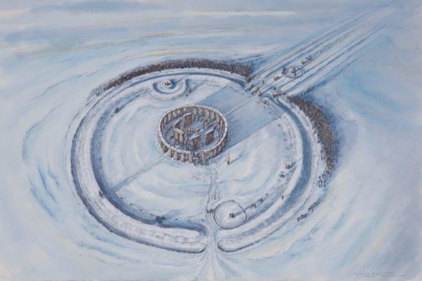 Reconstruction of Stonehenge shown from above in the snow