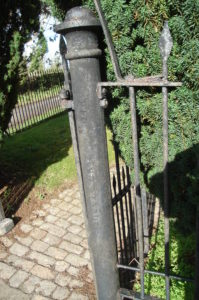 Cast iron Church gate post by Brown and May of Devizes, a firm famous worldwide through their export of small portable steam engines