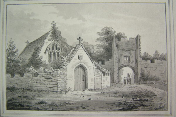 Engraving of the chapel and gatehouse of Farleigh Hungerford Castle