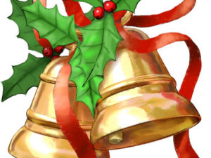 holly bells and red ribbon