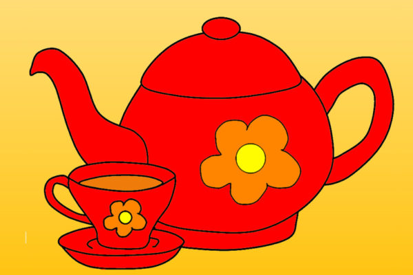 Red teapot and cup of tea