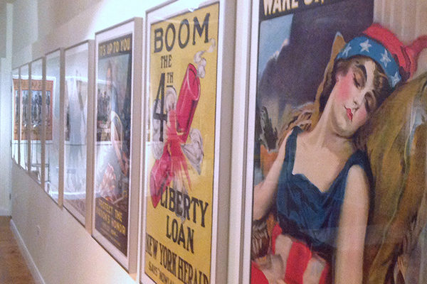 new gallery at the museum with WW1 American propaganda posters on display