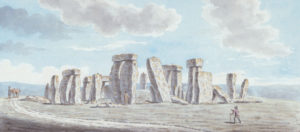 The oldest depiction of Stonehenge in the Museum's collection. Stonehenge on Salisbury Plain, watercolour from 1784, by Joshua Gosselin.