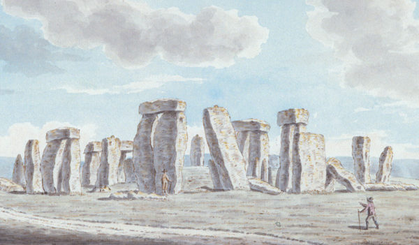 The oldest depiction of Stonehenge in the Wiltshire Museum's collection. Stonehenge on Salisbury Plain, watercolour from 1784, by Joshua Gosselin.