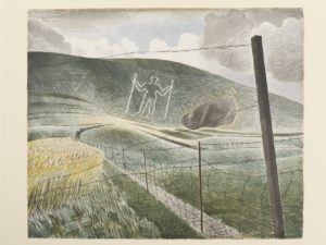 Watercolour showing a chalk figure on a hillside of a man holding two staves. Wire fence in the foreground.