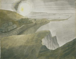 Watercolour looking at houses across a bay with white chalk cliffs in the foreground. The flash of a gun firing on the hillside in the distance.