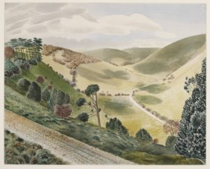 Watercolour showing a downland landscape of a valley of pasture with a track and trees in the foreground.