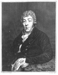 Portrait of William Cunnington - engraving of the portrait by Samuel Woodforde in the Museum.