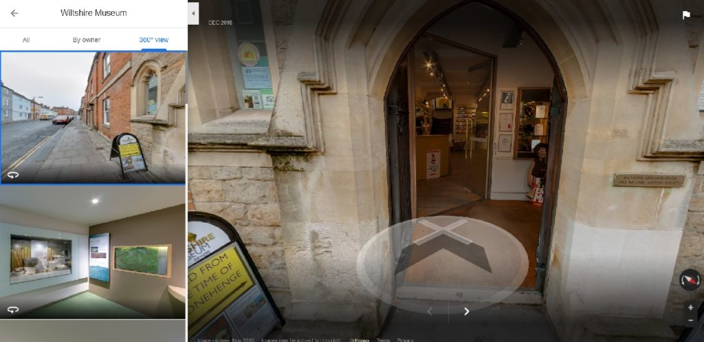 Screenshot of the entrance to the Wiltshire Museum - part of a virtual tour featuring Gold from the Time of Stonehenge.