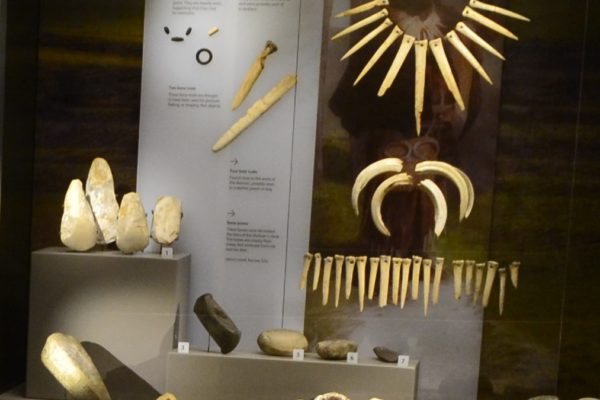 Display case with objects buried with the Upton Lovell Shaman.