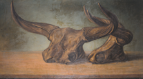 Oil painting showing skulls and horns of two skulls of aurochs, an extinct species of wild cattle