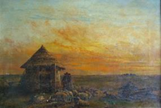 Oil painting showing a sunset with a sheher's hut in the foregound and Stonehenge on the horizon