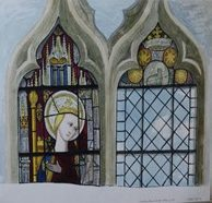 Watercolour of two stained glass windows, one showing the Virgin Mary