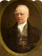 Oval oil portrait shwoing a distinguished elderly gentleman