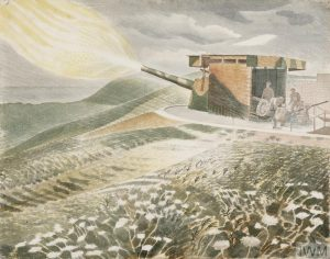 A gun position set on a hillside. A group of figures stand on the right, behind the camouflaged structure that houses the gun. There are enormous yellow flames billowing into the air from the nose of the gun. Delicate white flowers lie in the grass in the foreground, and across the rolling fields there is a view to the coast in the distance.